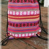 Unisex Woven Hippie Rucksack Drawstring Backpack Tribal Hipster Boho Ethnic Aztec Nepali Sling Bags Purse Bucket Beach Tote For School Party