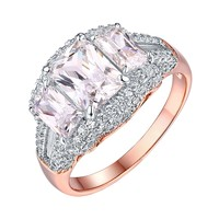 Emerald Cut Solitaire Ring Rose Gold On 925 Silver Cubic Zirconia Wedding Bridal