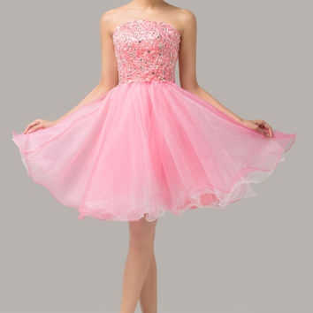 Pink  Strapless Beaded Lace Up Back Homecoming Dress