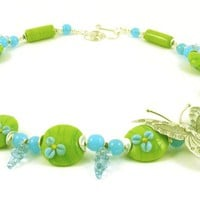 Sterling Silver Butterfly Pendant Asymetrical Necklace with Green Teal Blue Glass Beads