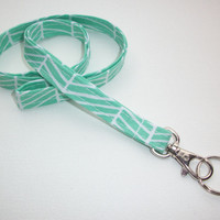 Lanyard  ID Badge Holder -  Lobster clasp and key ring New Thinner  Design - mint green herringbone