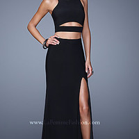 La Femme High Neck Prom Dress with Cut Outs 21106