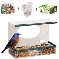 Bird Window Feeder Clear Suction cup Large Removable Tray for Kids Bird Lovers