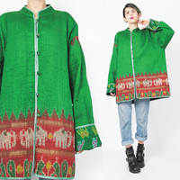90s Boho Hippie Jacket Reversible Quilted Jacket Asian Chinese Jacket Mandarin Collar Bright Green Jacket Tie Dye Blanket Coat (L/XL)