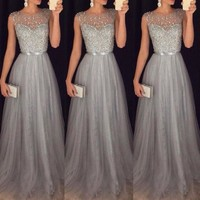 New Brand Women Formal Wedding Bridesmaid Long Night Party Ball Prom Gown Elegant Formal Long Dress
