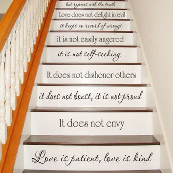 Wall Decal - Love is Patient, Love is Kind - 1 Corinthians 13 - STAIR CASE - Vinyl Decal Wall Decal Inspirational Bible Room Decor