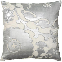 Madison Silver Floral Throw Pillow
