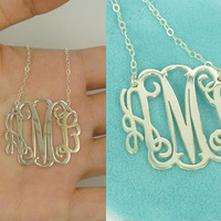 1 Inch Sterling Silver Monogramed Necklace With 3 Initial Letter,Initial Monogram Necklace, Personalized Monogram Jewelry, Birthday Gift