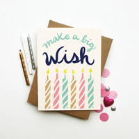 Make a Wish illustrated happy birthday card pastel candles calligraphy typography hand lettered chic neon neutral clever cute paper goods