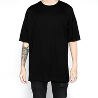 4color basic tee fitness men hiphop clothes 2017 kpop streetwear usa kanye west plain oversized extended white t shirt