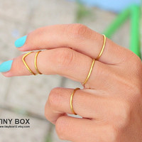2 Gold Knuckle Rings -  Above Knuckle Rings -  Midi Ring -  Set of 2 Stacking Ring