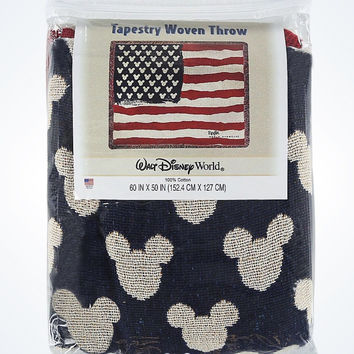 Disney Parks Epcot U.S.A. Flag Mickey Icon Tapestry Throw Blanket New With Tags