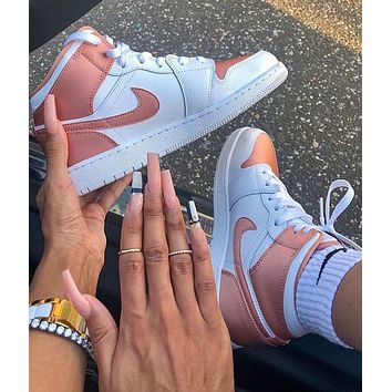 NIKE Air Jordan 1 Mid AJ1 Rose Gold Sports Shoes for Women