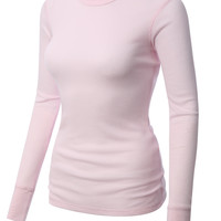 LE3NO PREMIUM Womens Lightweight Long Sleeve Soft Waffle Knit Thermal Shirt
