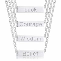 4 in 1 Luck Courage Wisdom Belief Rotating Rhodium Stainless Steel Bar Script Necklace