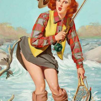 Fly Fishing Pin-up Girl Poster 11x17
