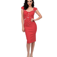 Stop Staring! 1940s Style Red & White Dotted Arrabella Fitted Pencil Dress