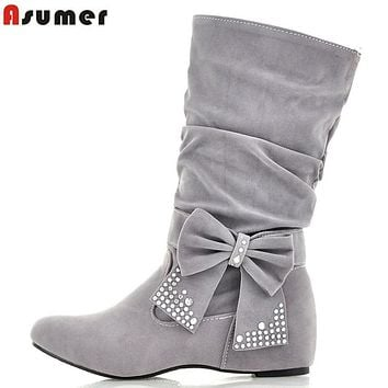 women snow boots new 2017 fashion warm ankle rhinestone autumn boots winter women's shoes woman bowknot lady boots