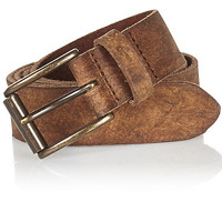 River Island MensBrown worn leather belt