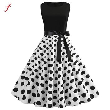 Feitong Vintage Dress Women Vintage 1950s Retro Sleeveless Dot Printing Party Prom Swing Dresses Woman Party Night Vestidos 2019