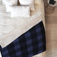 Allyson Johnson Woodsy Blue Plaid Fleece Throw Blanket