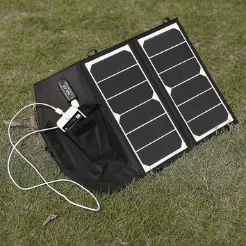 14-Watt Folding Solar Panel Charger for Smartphone iPhone Galaxy and More