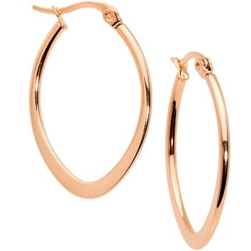 30mm Rose Gold Tone PVD Stainless Steel Oval Hoop Earrings