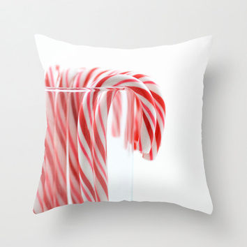 Christmas Decorative Throw Pillow Cover Holiday Candy Cane Pine Cone Cocktail Red White Festive Home Decor18x18