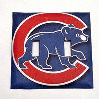 Double Light Switch Cover - Light Switch Chicago Cubs