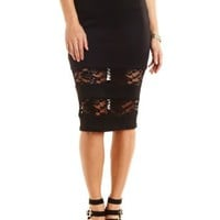 Lace-Trim Bodycon Midi Skirt by Charlotte Russe - Black