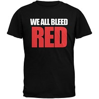 We All Bleed Red Military Green Adult T-Shirt