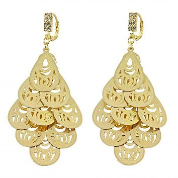 Gold Layered 5.069.003.1 Chandelier Earring, Teardrop Design, with White Cubic Zirconia, Diamond Cutting Finish, Golden Tone