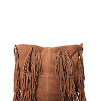 FOREVER 21 Fringed Suede Carryall Bag Brown One
