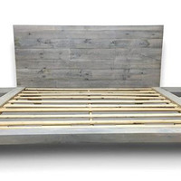Floating Platform Bed with Integrated Side Tables - Reclaimed Wood