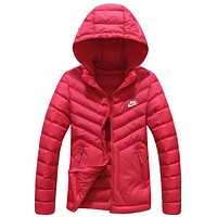 NIKE winter new light down cotton padded women's cotton coat Red