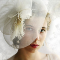 White fascinator ivory bridal fascinator feather fascinator bridal headpiece bridal hair accessory wedding veil alternative mini hat GRACE