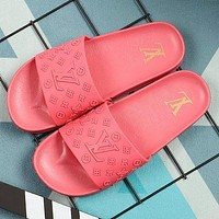 LV Louis Vuitton new slippers fashion outer wear student flat beach sandals slippers Shoes All Pink