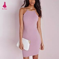 Sexy Brandy Melville AA Style Spaghetti Strap Rubber Bodycon Dress Slim Sheath Packege Hips Short Dresses Women femme 5 Color
