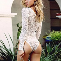 Women White Crochet Lace Bodysuits 2018 Sexy Deep V Neck Lace Up See Through Jumpsuit Party Clubwear Plus Size Rompers Playsuits