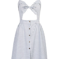 Blue Stripe Print Knotted Front Cut Out Detail Cami Dress