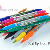 Dual Tip Brush Pen Set 12 PACK - Brush Tip & Fine Tip - Watercolor Markers, Blending, Shading, Calligraphy, Drawing, Vibrant Colors Great For Adult Coloring