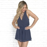 Sweet Melody Blue Sheer Romper