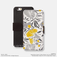 Flower floral pattern iPhone Samsung Galaxy leather wallet case cover 039