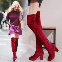 On Sale Hot Deal Round-toe High Heel Sexy Plus Size Boots [120849760281]