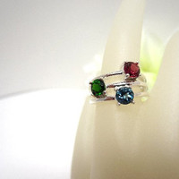 Sterling Silver Ring Three Faceted Gem Stones