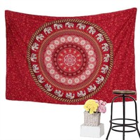 BeddingOutlet Red Tapestry Elephant Messenger Mandala Wall Hanging Tapestry Boho marocco decor 130x150cm 150x200cm Fashion