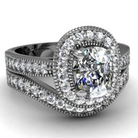 1.16 Ct Cushion Cut Diamond Halo Engagement Wedding Rings Set With Milgrain VVS1 GIA