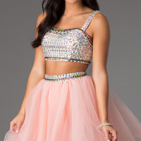 Pink Two Piece A-Line Junior Prom Dress