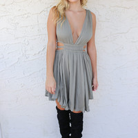 Never Ending Olive Tank Dress With Side Cut Outs