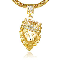 """Cuccu Men 18k Real Gold Plated Crown Lion King Pendant Necklace,Cz Inlay,with FREE Fishtail hip hop Chain 30"""""""
